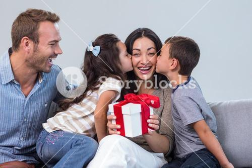 Mother holding a gift