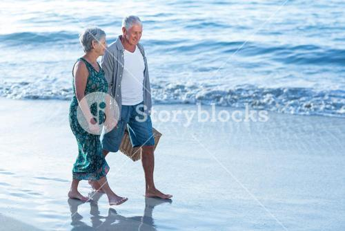 Senior couple with a picnic basket