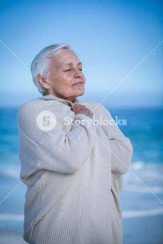 Senior woman relaxing and breathing
