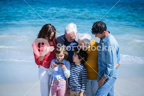 Happy family with a smartphone