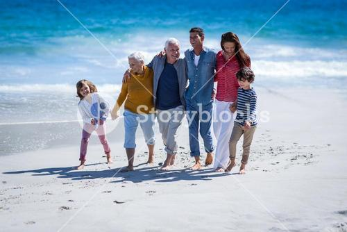 Happy family walking together