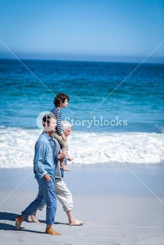 Male family members walking at the beach