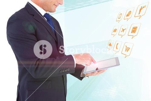 Composite image of mid section of a businessman with arms out