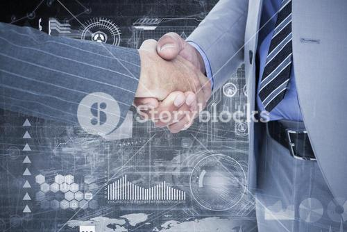 Composite image of  businessman shaking hands with a co worker