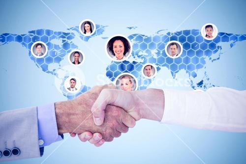 Composite image of business people shaking hands on white background