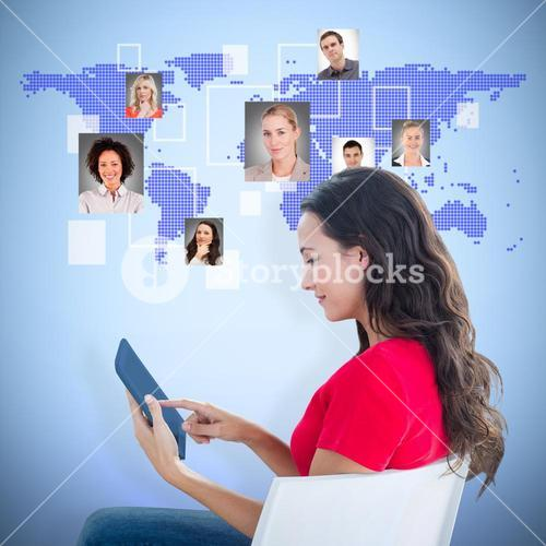 Composite image of woman sitting with tablet