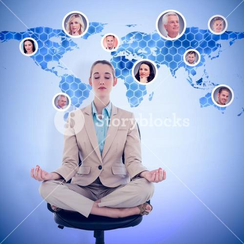 Composite image of peaceful chic businesswoman sitting in lotus position on swivel chair
