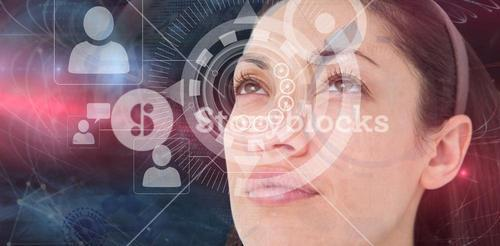 Composite image of brunette looking up