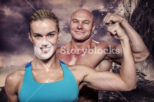 Composite image of portrait of confident cheerful man and woman flexing muscles