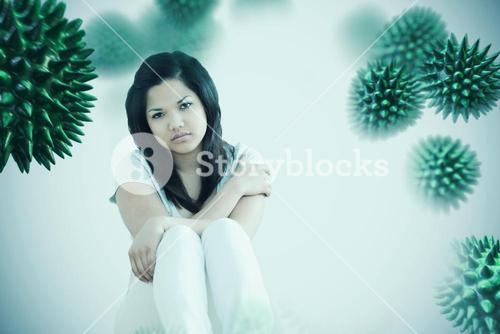 Composite image of barefoot woman sitting on the floor