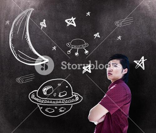 Composite image of worried creative businessman leaning on wall