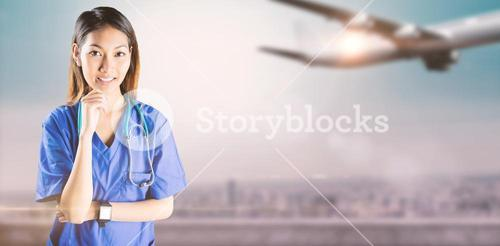 Composite image of asian nurse thinking with hand on chin