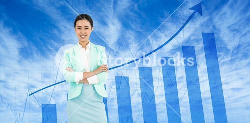 Composite image of elegant businesswoman with crossed arms