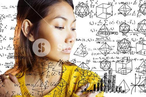 Composite image of serious asian woman looking down