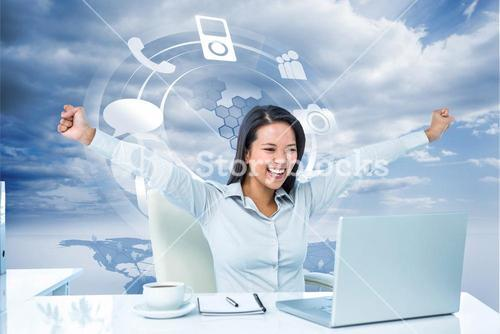 Composite image of happy businesswoman with raised arms