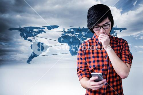 Composite image of surprised hipster watching his phone