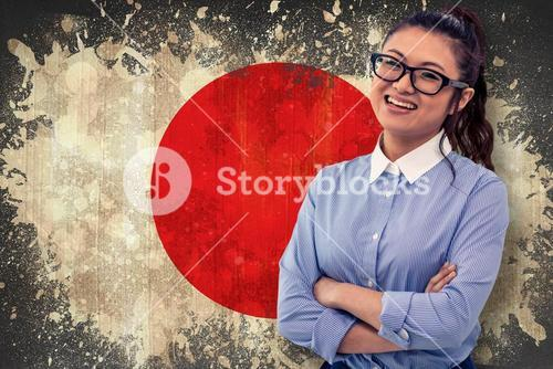 Composite image of asian woman with arms crossed