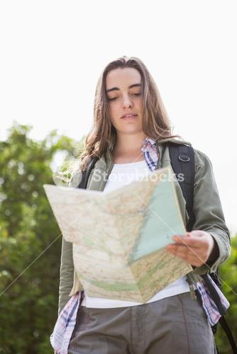 Woman checking the map