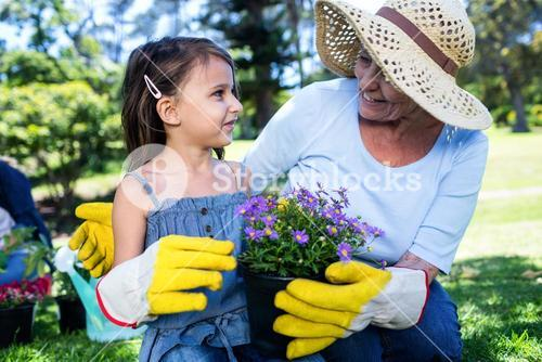 Grandmother and granddaughter holding a flower pot while gardening