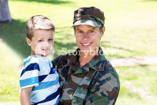Happy soldier reunited with his son