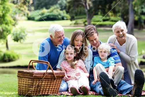 Multi-generation family having a picnic