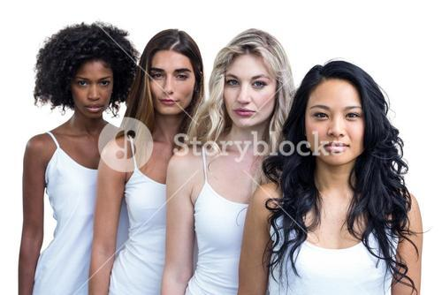 Multiethnic women standing in a line together