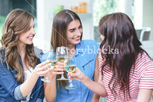 Friends toasting glass of wine