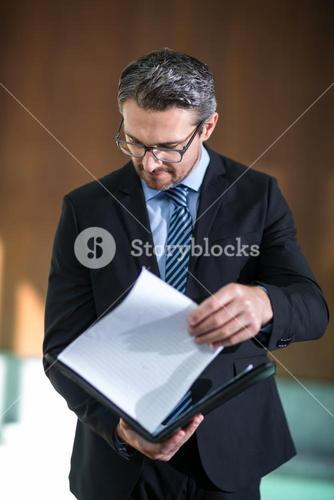 Businessman checking his document