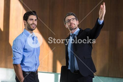 Real estate showing property to a man