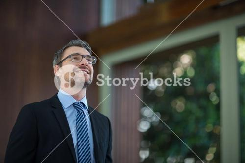Happy businessman looking away