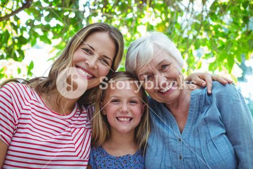 Portrait of happy family with granny