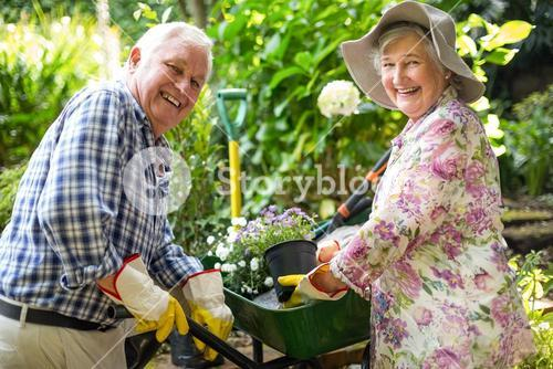 Happy senior couple with potted plants