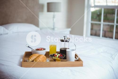Food and drink in serving tray