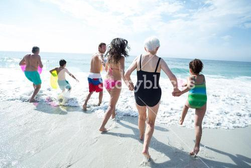 Multi-generation family enjoying at beach