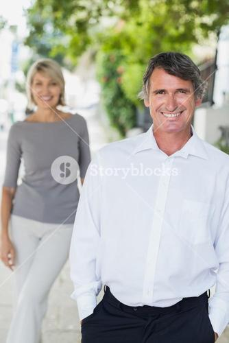 Portrait of happy man with woman