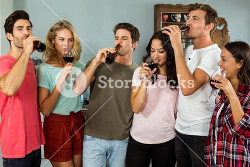 Friends drinking wine and beer at home