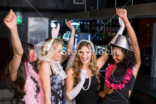 Friends celebrating bachelorette party