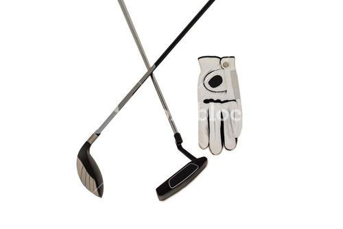 Golf club and glove on white background