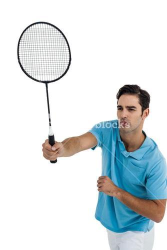 Badminton player playing badminton
