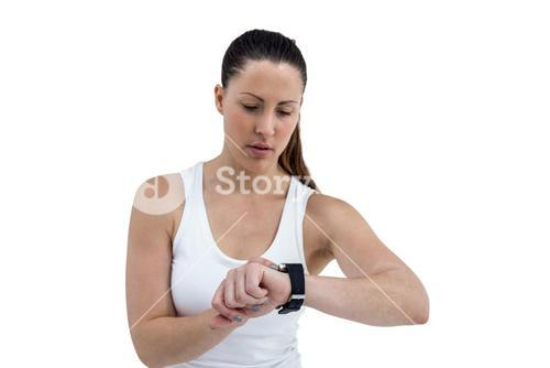 Athlete woman watching on white background