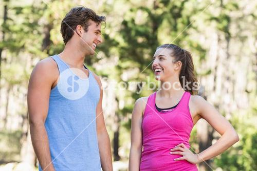 Healthy happy couple looking at each other