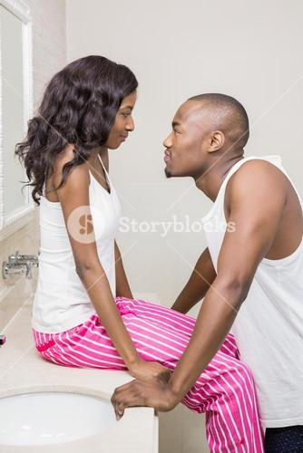 Young couple looking face to face