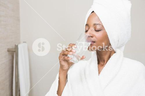 Beautiful woman having medicine