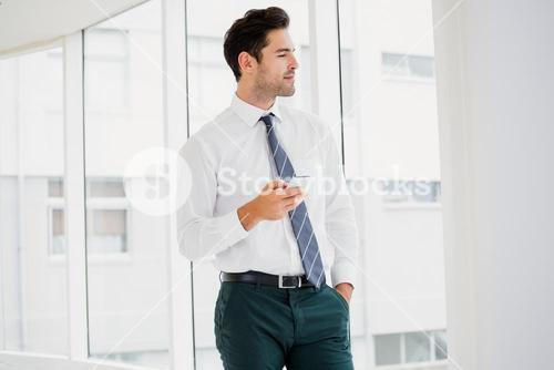 A businessman is holding a notebook and looking outside