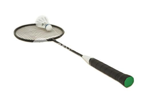 Badminton racket with feather shuttlecock on white background