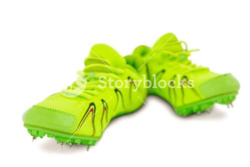 Pair of trainer shoes on white background