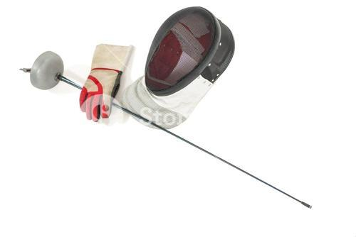 Fencing mask, sword and gloves on white background