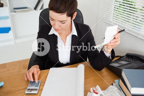 Active accountant checking receipts