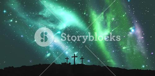 Cross religion symbol shape over sky with aurora borealis