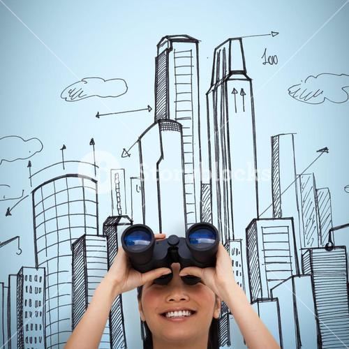 Composite image of visionary businesswoman looking through binoculars